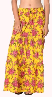 SBS Floral Print Women's Tiered Yellow Skirt