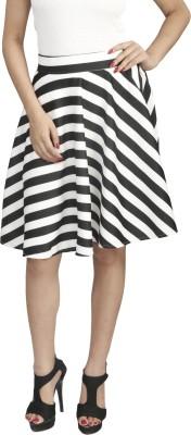 Naitik Checkered Women's Regular White, Black Skirt