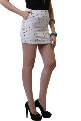 Belle Fille Polka Print Women's Asymetric White Skirt
