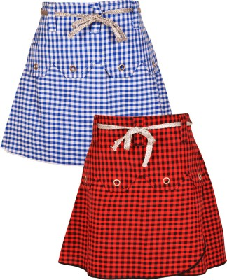 Gkidz Checkered Girl's A-line Red, Blue Skirt