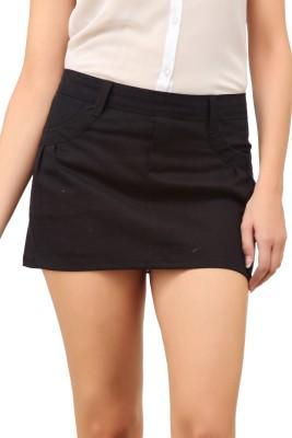 Cation Solid Women's Straight Black Skirt