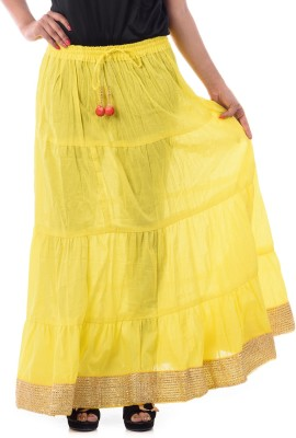 Patterns Lets Create Solid Women's Tiered Yellow Skirt