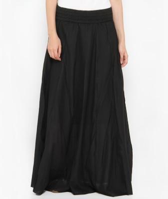 Philigree Solid Women's Straight Black Skirt