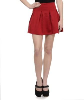 N-Gal Solid Women's Bubble Maroon Skirt