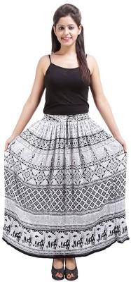 Marwari Fashion Printed Women's Wrap Around White Skirt