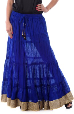 Patterns Lets Create Solid Women's Tiered Blue Skirt