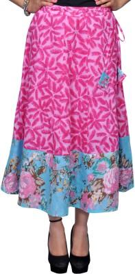 Chidiyadesigns Printed Women's A-line Pink, Blue Skirt
