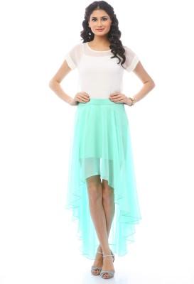 Pinwheel Solid Women's Asymetric Light Blue Skirt