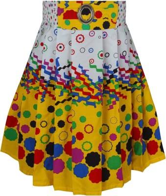 Jazzup Printed Girl's Gathered Yellow, White Skirt