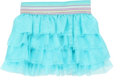 Eimoie Solid Girls Layered Light Blue Skirt