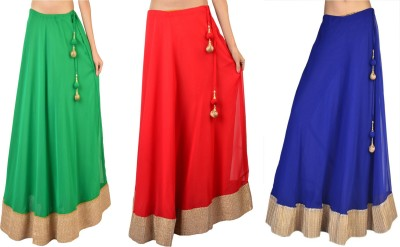 Purple Oyster Solid Women's A-line Red, Green, Blue Skirt