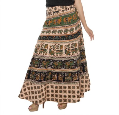 Pms Fashions Printed Women's Wrap Around Beige Skirt