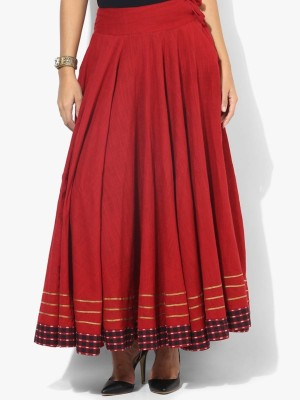 DConcept Solid Women's Gathered Maroon Skirt
