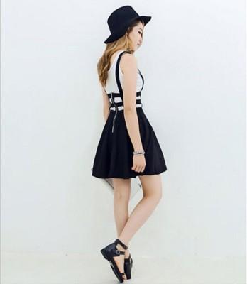 NRG FASHION Solid Women's Pleated Black Skirt