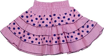 Retaaz Polka Print Girl's Tiered Pink, Blue Skirt