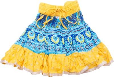 BigCart Printed Women's Straight Yellow Skirt