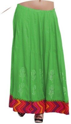 Inblue Fashions Printed Women's A-line Green Skirt