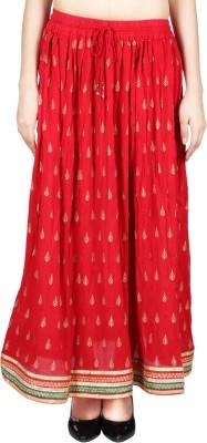 Franclo Printed Women's Regular Red Skirt