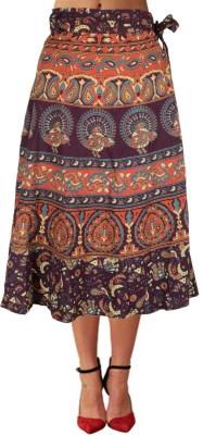 Shopatplaces Self Design Women's Wrap Around Brown Skirt
