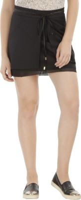 Fuziv Solid Women's Layered Black Skirt