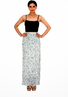 Damsel Printed Women's A-line White, Blue Skirt