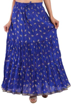 Ooltah Chashma Printed Women's Tiered Blue Skirt