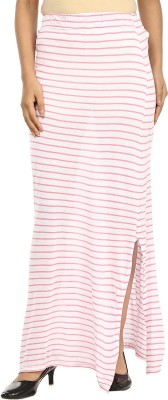 G & M Collections Striped Women's A-line Pink, White Skirt