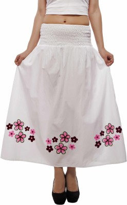Indi Bargain Embroidered Women's A-line White Skirt