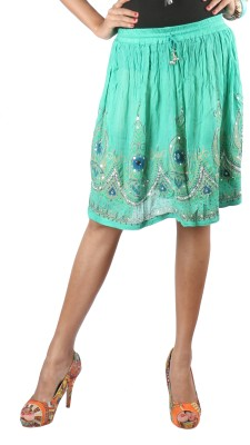 Indiankala4u Printed, Self Design Womens Broomstick Green Skirt