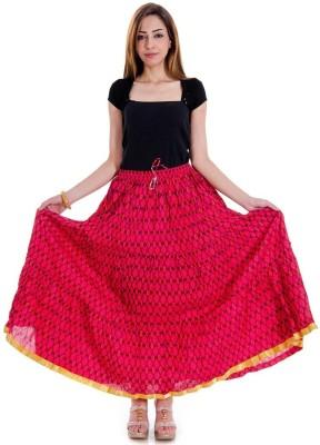 rebella Printed Women's A-line Pink Skirt