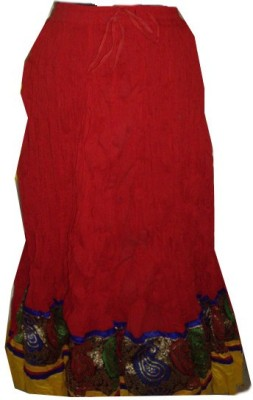 Rajasthani virasat Solid, Embroidered Women's Regular Red, Multicolor Skirt