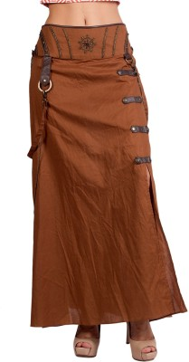 Ebry Solid Women's Regular Brown Skirt