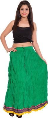 Wardtrobe Solid Women's Regular Green Skirt