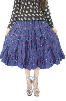 ShopMore Printed Women's Layered Dark Blue Skirt
