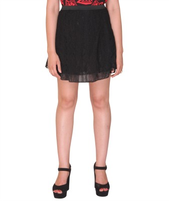 Bedazzle Solid Women's A-line Black Skirt