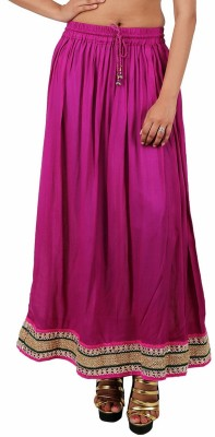 Indi Bargain Solid Women's A-line Purple Skirt