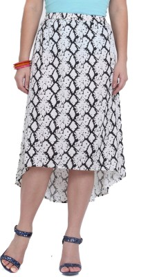 Studio West Printed Women's Regular White, Black Skirt