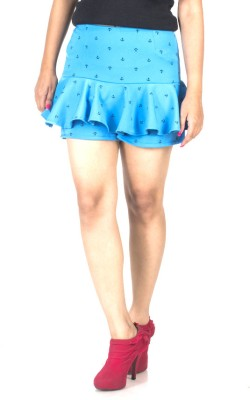 TrendBAE Printed Women's A-line Blue Skirt