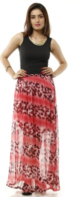 Lyla Printed Women's A-line Pink, Black Skirt