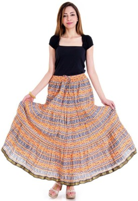Halowishes Printed Girls Wrap Around Multicolor Skirt