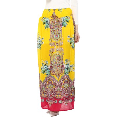 Rose Vanessa Printed Women's Layered Yellow Skirt