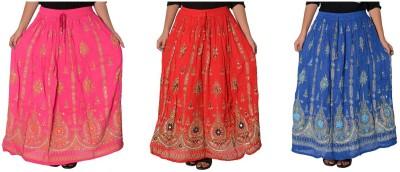 Fashionmandi Printed Women's A-line Multicolor Skirt