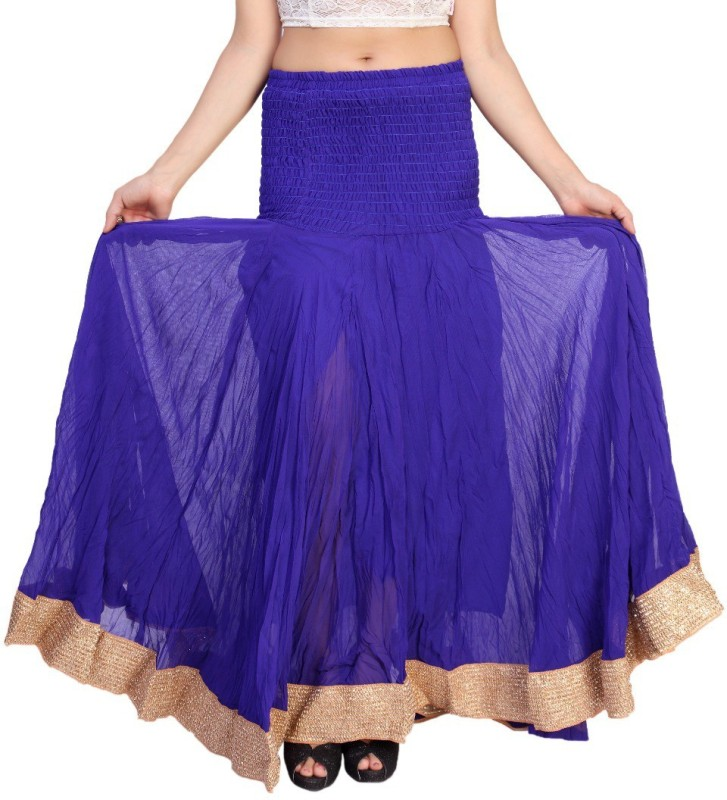 Carrel Solid Women's Broomstick Blue Skirt