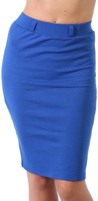 Abbme Solid Women's Pencil Blue Skirt