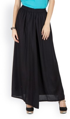 Westhreads Solid Women's Straight Black Skirt