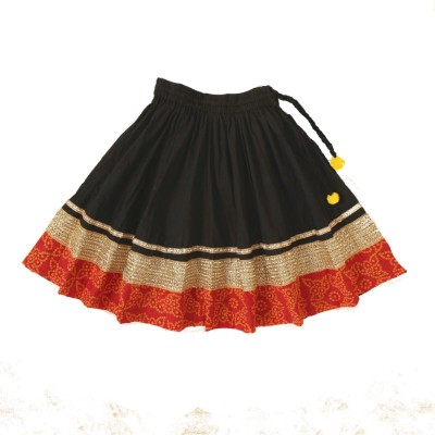 Little Pocket Store Embellished Girl's Gathered Black Skirt