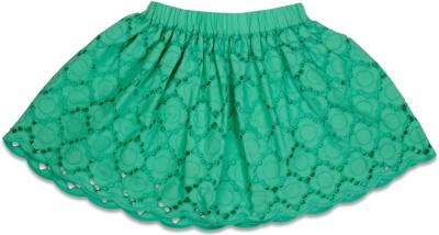 Crayon Flakes Embroidered Girl's Gathered Green Skirt