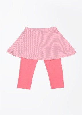 United Colors of Benetton Striped Girls Straight White, Pink Skirt