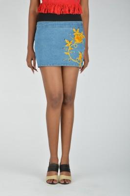 Its Hot Embroidered Women's Regular Light Blue Skirt