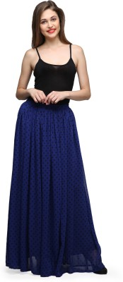 Cation Printed Women's Gathered Blue Skirt